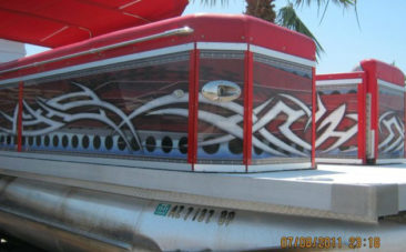 Red Tribal Pontoon Boat