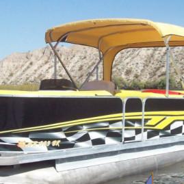 Evo Boat Yellow Flame Pontoon