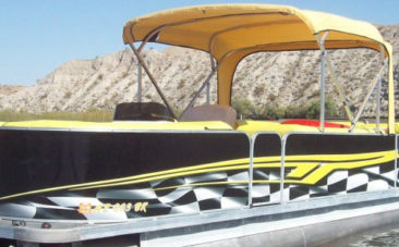 Evo Boat Yellow Flame Pontoon